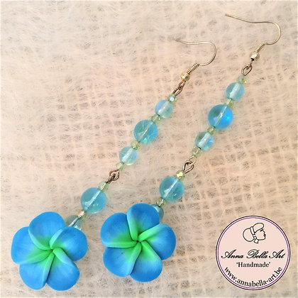 Blauw groen-fimo bloem-glasparel-lang-zilver
