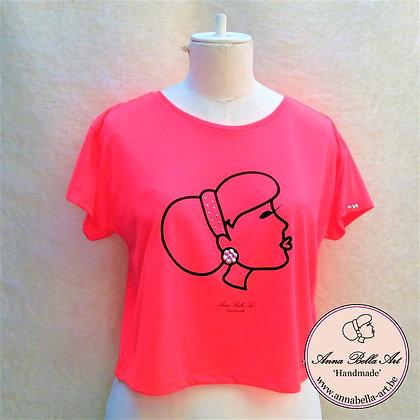 Pièce Unique - Korte hippe bolero T-shirt - Fluor oranje