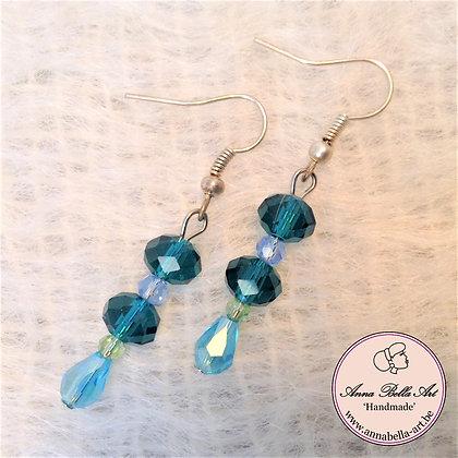 Anna oorbellen - Turquoise licht/donker - Kristalparel - Zilver