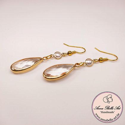 Anna Line kristal druppel oorbellen - Transparant - Wit parelmoer - Goudkleur