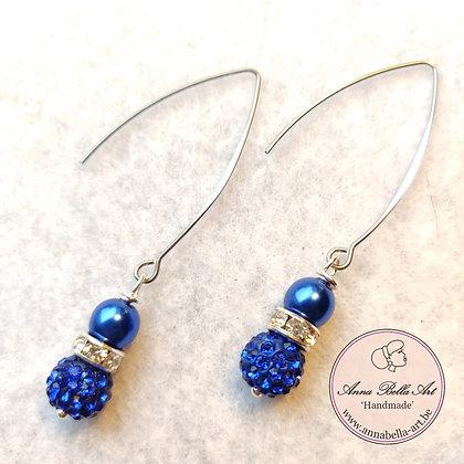 Anna oorbellen - Swarovski parel en Parelmoer parel hoog blauw - Zilveren haak