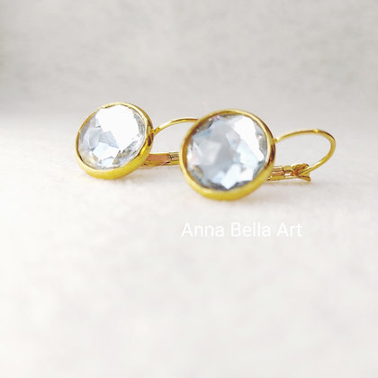 Anna Line oorbellen - Swarovski diamant - Goudkleur