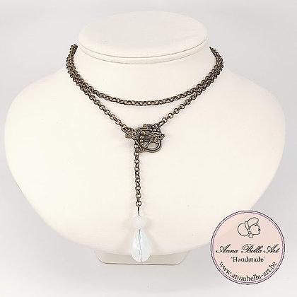 Anna Line druppel SET - Wit kristal en natuursteen & brons