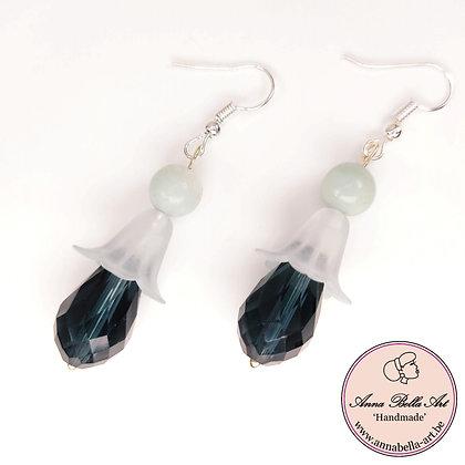 Anna Line bloemdruppel kristal oorbellen-mat/transparant groen-lichtblauw-zilver