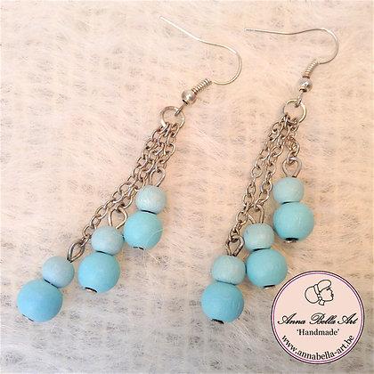 Anna oorbellen - Turquoise - Houten parel - Tros - Zilver