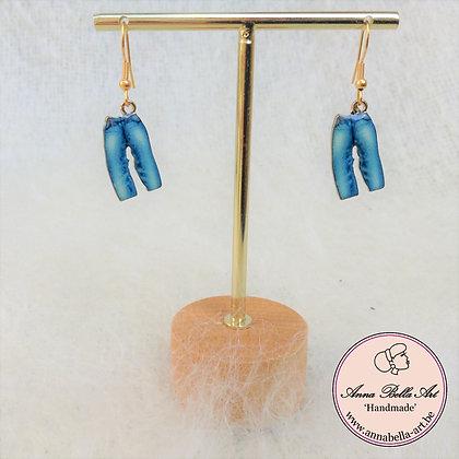 Little Anna oorbellen - Blauw - Jeansbroek - Goud