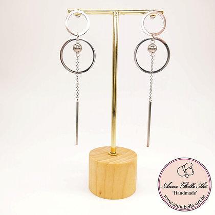 Anna Line zilveren design oorbellen