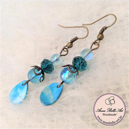 Blauw turquoise-kristalparel-glasparel-echte schelp-brons
