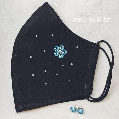 Art Line mondmasker met echte Swarovski - Licht blauw & diamant