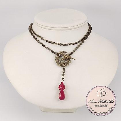 Anna Line druppel SET - Rood kristal en Swarovskiparel & brons