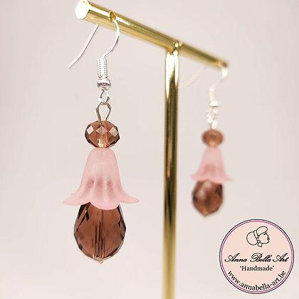 Anna Line bloemdruppel oorbellen - mat/transparant roze-vieux roze - zilver
