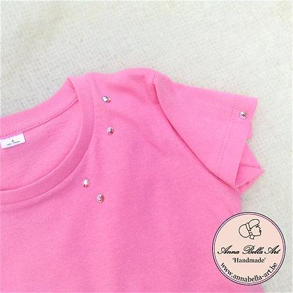 Little Anna T-shirt - Roze met echte Swarovski Regenboog