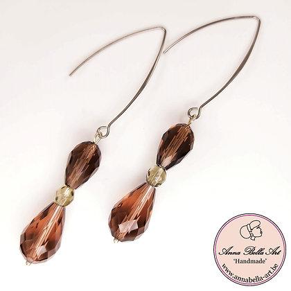 Anna Line glasparel druppel oorbellen - zacht aubergine - zilver