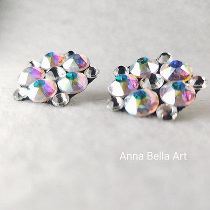 Bella Line - Bianca 2,5cm bloemoorbellen echte Swarovski - Diamant & regenboog