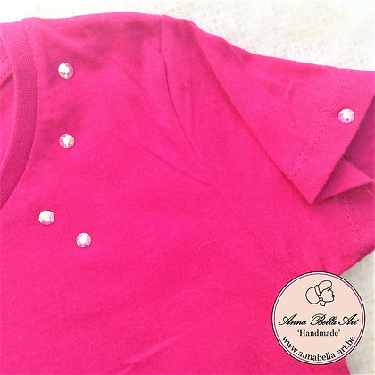 Little Anna T-shirt - Fuchsia met echte Swarovski Regenboog