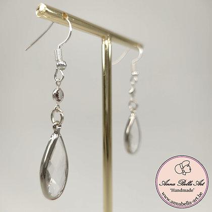 Anna Line kristal druppel oorbellen - Transparant - Zilver