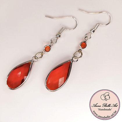 Anna Line kristal druppel oorbellen - Transparant rood - Zilver