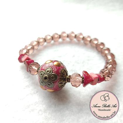 Anna Line Armband Indy - Swarovski kristal, natuursteen en brons - Bordeaux/rose