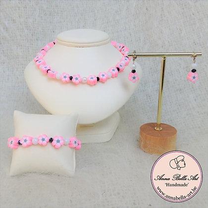 Little Anna Bloem Oorbellen - roze/wit/zwart
