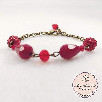 Anna Line druppel armband - Rood kristal en Swarovskiparel & brons