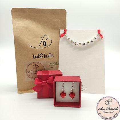 Art Line - Ambachtelijke koffie geschenk - (koffie - kaart - oorbellen)