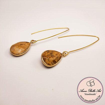 Anna Line natuursteen oorbellen - natuur bruin - goud