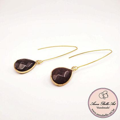 Anna Line oorbellen - natuursteen - natuur aubergine bruin - goudkleur