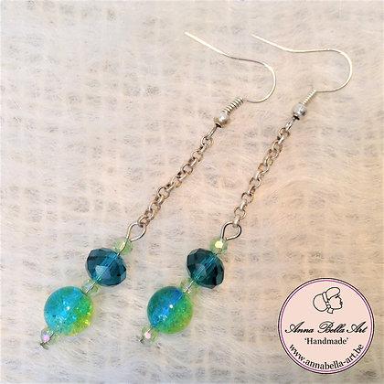 Anna oorbellen - Turquoise/limoen - Glasparel luchtbel - Zilver