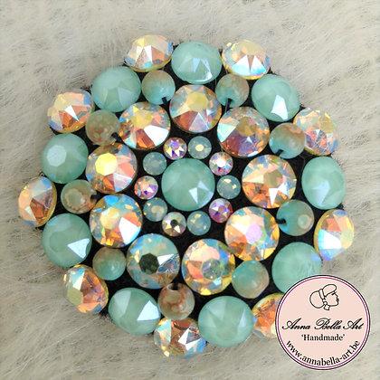 Sierspeld Bella Karina - Swarovski-Natuurparel - Groen-Turquoise-regenboog