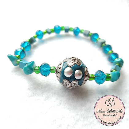 Anna Line Armband - Swarovski kristal & natuursteen - turquoise & groen - Indy
