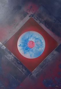 """""""Regard perçant"""" Collection 'Entre cubisme et space painting' - 2018 Peinture sur toile -  acrylique, aérosol - 50*70*1,5cm"""