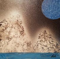 """""""Nuit bleutée"""" Collection 'Montagne et fun' - 2018 Peinture sur toile - acrylique - carré 20*20 cm"""