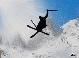 """""""Ski freeride"""" Collection 'Montagne et fun' - 2018 Peinture sur carton entoilé - acrylique, aérosol, pochoir"""