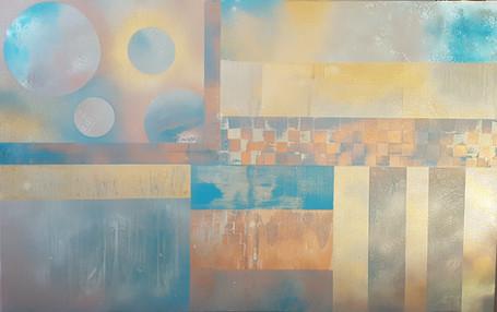 Collection 'Entre cubisme et space painting' - 2019 Peinture sur toile - acrylique, aérosol - 70*110*2cm