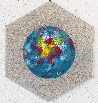 Collection 'Les couleurs' - 2019 Peinture sur toile hexagonale 25cm - acrylique, aérosol, techniques mixtes