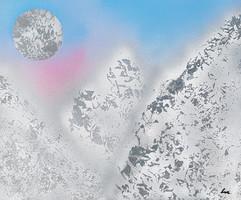 """""""Montagnes lunaires"""" Collection 'Montagne et fun' - 2018  Peinture sur carton entoilé - acrylique, aérosol - 45*55 cm"""