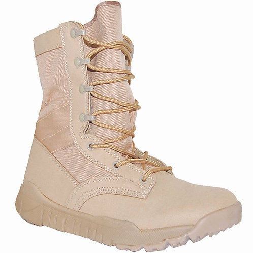 Marine's Men's 8 inch Light Beige Suede Leather Lace Up, Side Zipper Jungle Boot