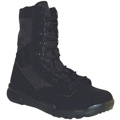 Marine's Men's 8 inch Light Black Suede Leather Lace Up, Side Zipper Jun