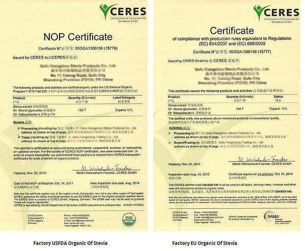 ceres organic certificate