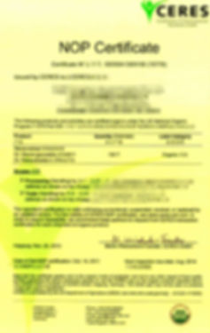 Steviol Glycosides NOP certificate organic