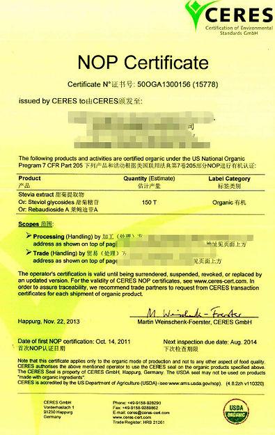 stevia extract NOP certificate organic