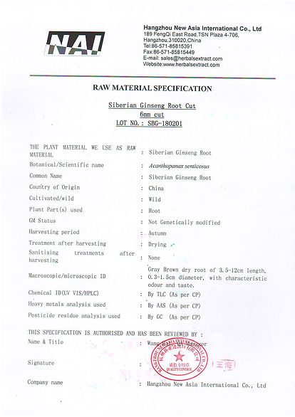 Specification-siberian ginseng root cut.