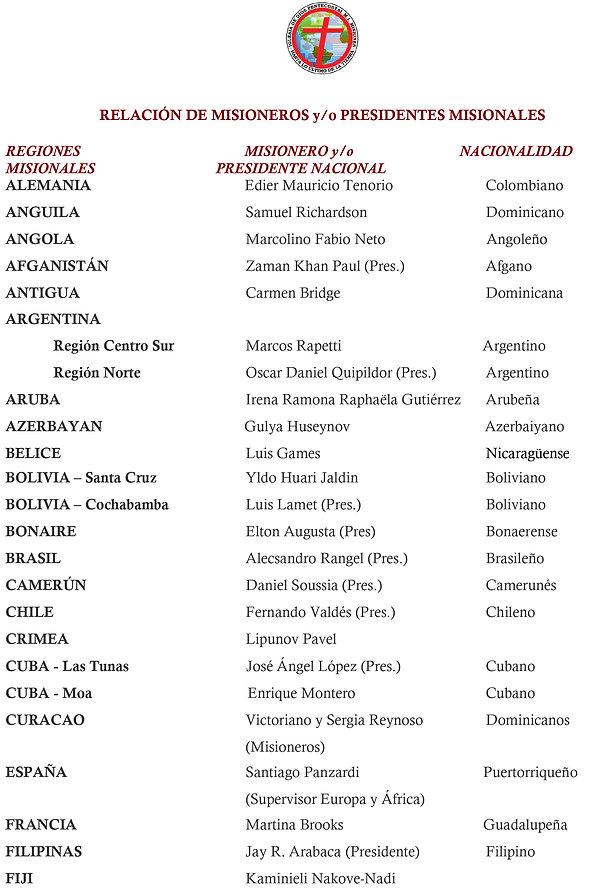 Lista de Misioneros - Coregido Nov. 2. 2