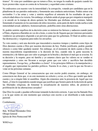 Carta Pastores - Ejecutivos 14 de octubr