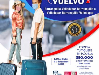 Voy y vuelvo Barranquilla Valledupar y retorno