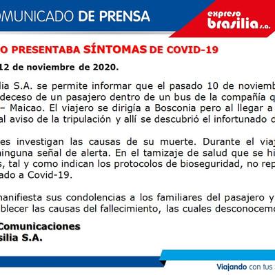 PASAJERO NO PRESENTABA SÍNTOMAS DE COVID-19