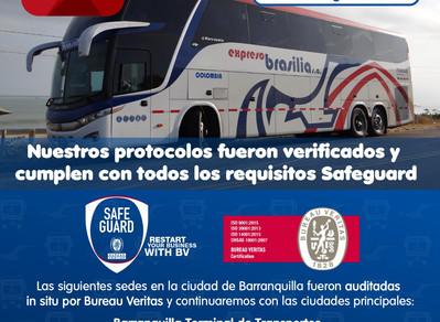 EXPRESO BRASILIA OBTIENE SELLO  SAFEGUARD DE BIOSEGURIDAD EN SEDES DE BARRANQUILLA