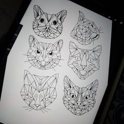Cute little geometric cats...