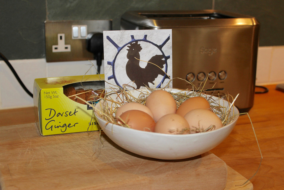 Free range eggs and locally made biscuits