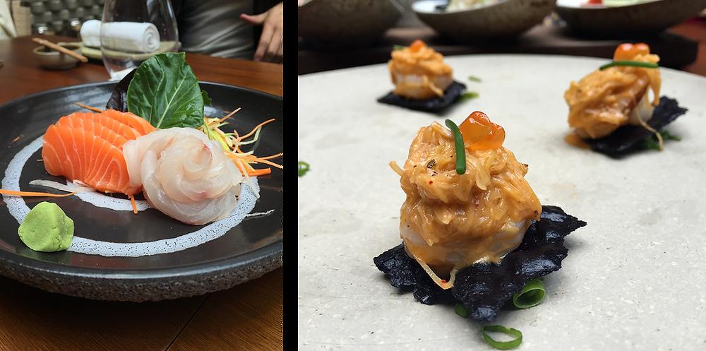 Osaka Bogotá Sashimi y langostinos